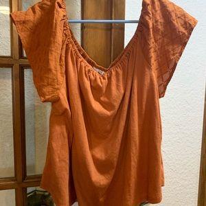 Spiced orange off the shoulder blouse